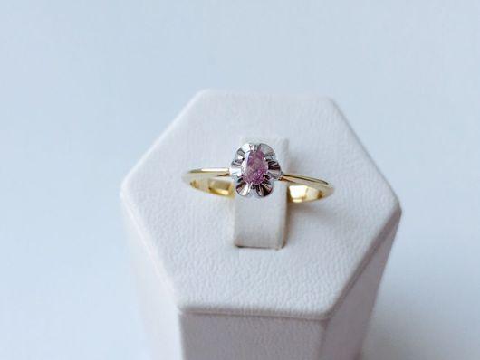 Кольца ручной работы. Ярмарка Мастеров - ручная работа. Купить Кольцо с розовым бриллиантом. Handmade. Розовый бриллиант, золотое кольцо