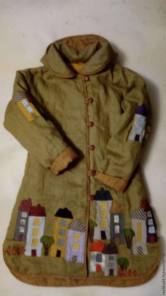 """Верхняя одежда ручной работы. Ярмарка Мастеров - ручная работа. Купить Пальто изо льна """" Города"""". Handmade. Оливковый"""
