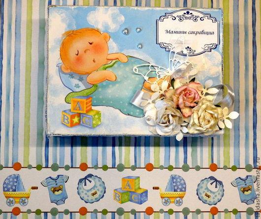 Подарки для новорожденных, ручной работы. Ярмарка Мастеров - ручная работа. Купить Мамины сокровища  (для мальчика). Handmade. Голубой