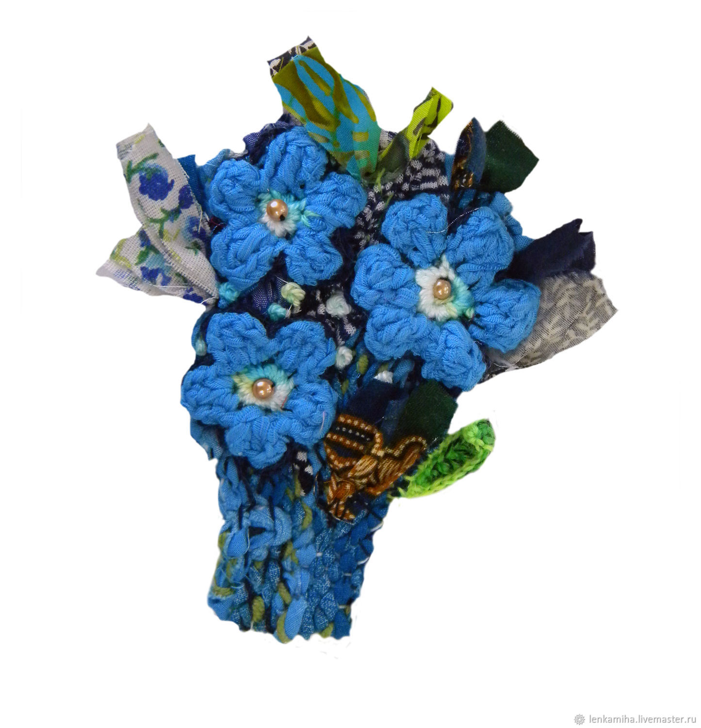 Brooches handmade. Livemaster - handmade. Buy Blue bouquet.Brooch, handmade jewelry, textile brooch, fabric