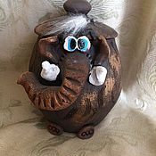 """Сувениры и подарки ручной работы. Ярмарка Мастеров - ручная работа Копилка """"СЛОН"""" глиняная. Handmade."""