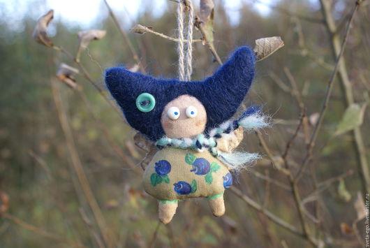Человечки ручной работы. Ярмарка Мастеров - ручная работа. Купить Авторская куколка фея- мушка Черничная подвеска. Handmade.