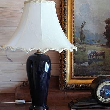 Винтаж ручной работы. Ярмарка Мастеров - ручная работа Старинная лампа фарфор кобальт бронза. Handmade.