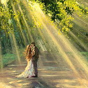 handmade. Livemaster - original item Oil painting on canvas. In the rays of love.. Handmade.