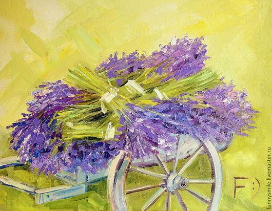 Картины цветов ручной работы. Ярмарка Мастеров - ручная работа. Купить Картина маслом на холсте. Телега с  лавандой. Лаванда Цветы. Handmade.