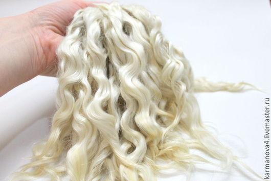 Волосы для кукол (белые, натуральные, мытые) Локоны Кудри для кукол Кудри для кукол купить Волосы для кукол купить Handmade Ярмарка Мастеров