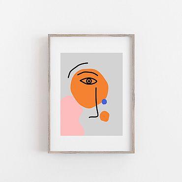 Для дома и интерьера ручной работы. Ярмарка Мастеров - ручная работа Интерьерный постер Лицо #2. Handmade.