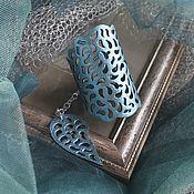 Украшения ручной работы. Ярмарка Мастеров - ручная работа Кожаный браслет Бирюзовый металлик. Handmade.