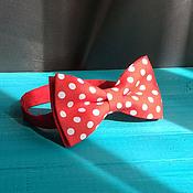 Аксессуары handmade. Livemaster - original item Tie Mickey / bow tie red large white dots. Handmade.