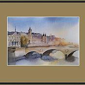 Картины и панно handmade. Livemaster - original item The urban landscape of Paris Dawn (sun blue grey). Handmade.