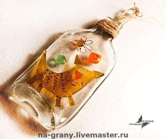 """Юмор ручной работы. Ярмарка Мастеров - ручная работа. Купить Коллаж на бутылке """"Кот"""". Handmade. Коллаж, кот, бутылка, оранжевый"""