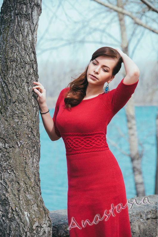 """Платья ручной работы. Ярмарка Мастеров - ручная работа. Купить Платье вязаное """"В красном"""". Handmade. Ярко-красный"""