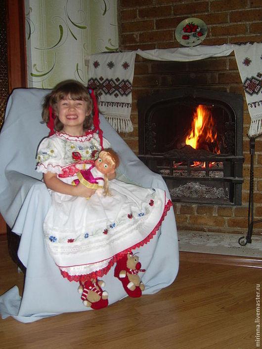 """Одежда для девочек, ручной работы. Ярмарка Мастеров - ручная работа. Купить Вышитое нарядное платье""""ЦВЕТ МАКОВКИ"""". Handmade. Белый"""