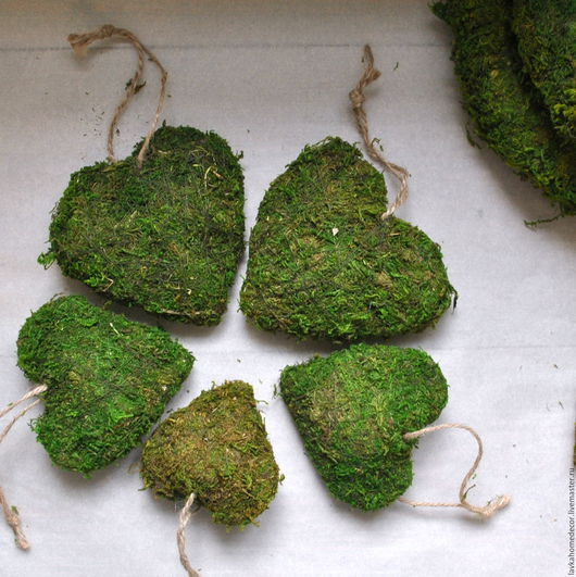 Сердце мох натуральный, 3 размера