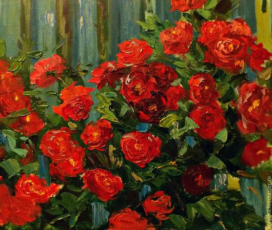 Картины цветов ручной работы. Ярмарка Мастеров - ручная работа. Купить Картина маслом Плетущиеся розы. Handmade. Разноцветный, мастихин