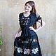 Платья ручной работы. Ярмарка Мастеров - ручная работа. Купить Вышитое платье Графиня роз. Handmade. Черный, платье с принтом