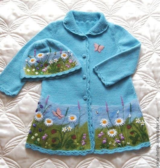 """Одежда для девочек, ручной работы. Ярмарка Мастеров - ручная работа. Купить Кофточка-пальто с шапочкой """"Полевые цветы """". Handmade."""