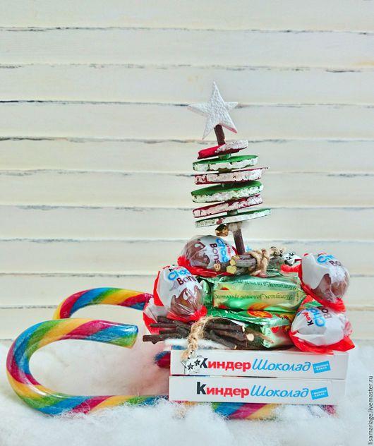 """Кулинарные сувениры ручной работы. Ярмарка Мастеров - ручная работа. Купить Сладкие санки """"Морозко"""". Handmade. Комбинированный, шоколад, дерево"""