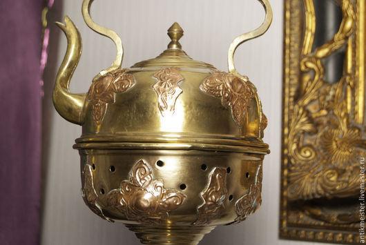 Реставрация. Ярмарка Мастеров - ручная работа. Купить Чайник «Бедуин» с жаровней на стойке бронза полированная украшение сто. Handmade. Золотой