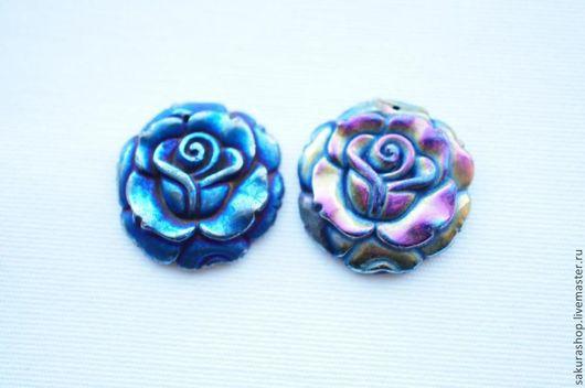 Для украшений ручной работы. Ярмарка Мастеров - ручная работа. Купить Роза из пирита, покрытого титаном синий/бензин 28мм. Handmade.
