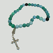 Фен-шуй и эзотерика handmade. Livemaster - original item Christian rosary of green agate with black agate dividers. Handmade.