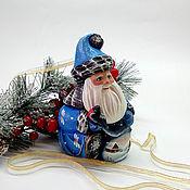 Подарки к праздникам handmade. Livemaster - original item Santa Claus with a bird (painted wooden. Handmade.