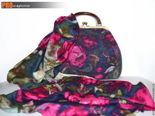 Комплекты аксессуаров ручной работы. Ярмарка Мастеров - ручная работа. Купить Комплект Валяная сумочка+ палантин. Handmade. Тёмно-синий