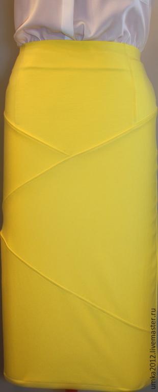 Юбки ручной работы. Ярмарка Мастеров - ручная работа. Купить Юбка-карандаш ярко-желтого цвета. Handmade. Желтый, шитье
