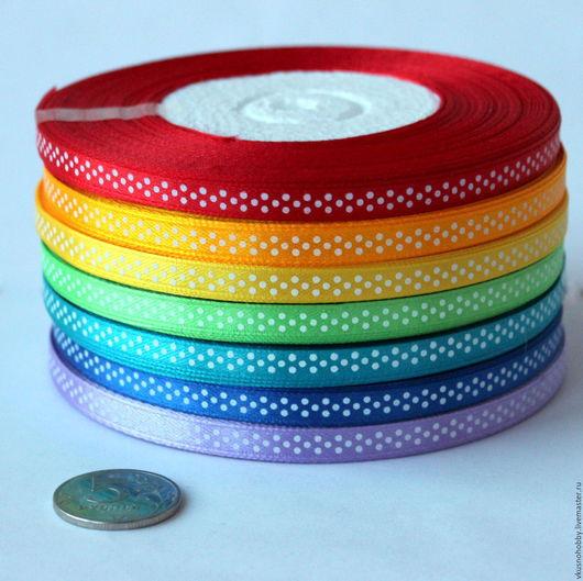 Другие виды рукоделия ручной работы. Ярмарка Мастеров - ручная работа. Купить Лента атласная в горошек 6 мм. Handmade.