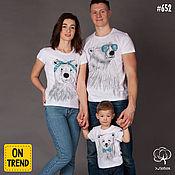 """Футболки ручной работы. Ярмарка Мастеров - ручная работа Семейные футболки/Family look """"Белые медведи"""" арт. 652. Handmade."""