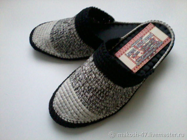 Slippers - flip flops ( cotton black and white )), Slippers, Vyazniki,  Фото №1