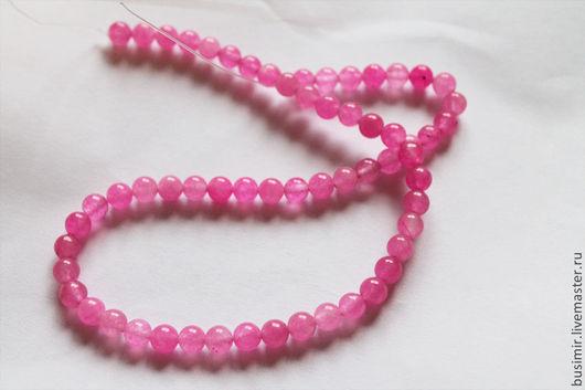 Жадеит, цвет - розовый. Бусины жадеита 6 мм. Жадеит для создания украшений. Busimir