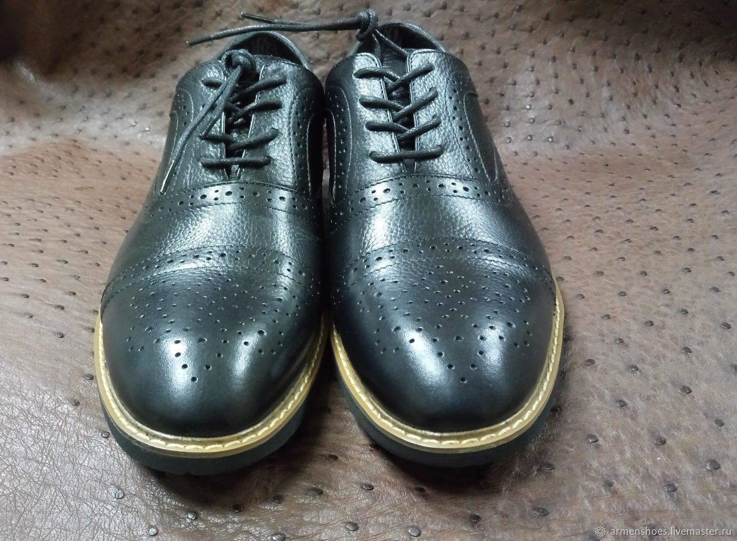 Classic men's brogue shoes, genuine leather, handmade, Brogues, Tosno,  Фото №1