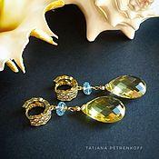 Украшения handmade. Livemaster - original item Earrings with lemon and blue Topaz