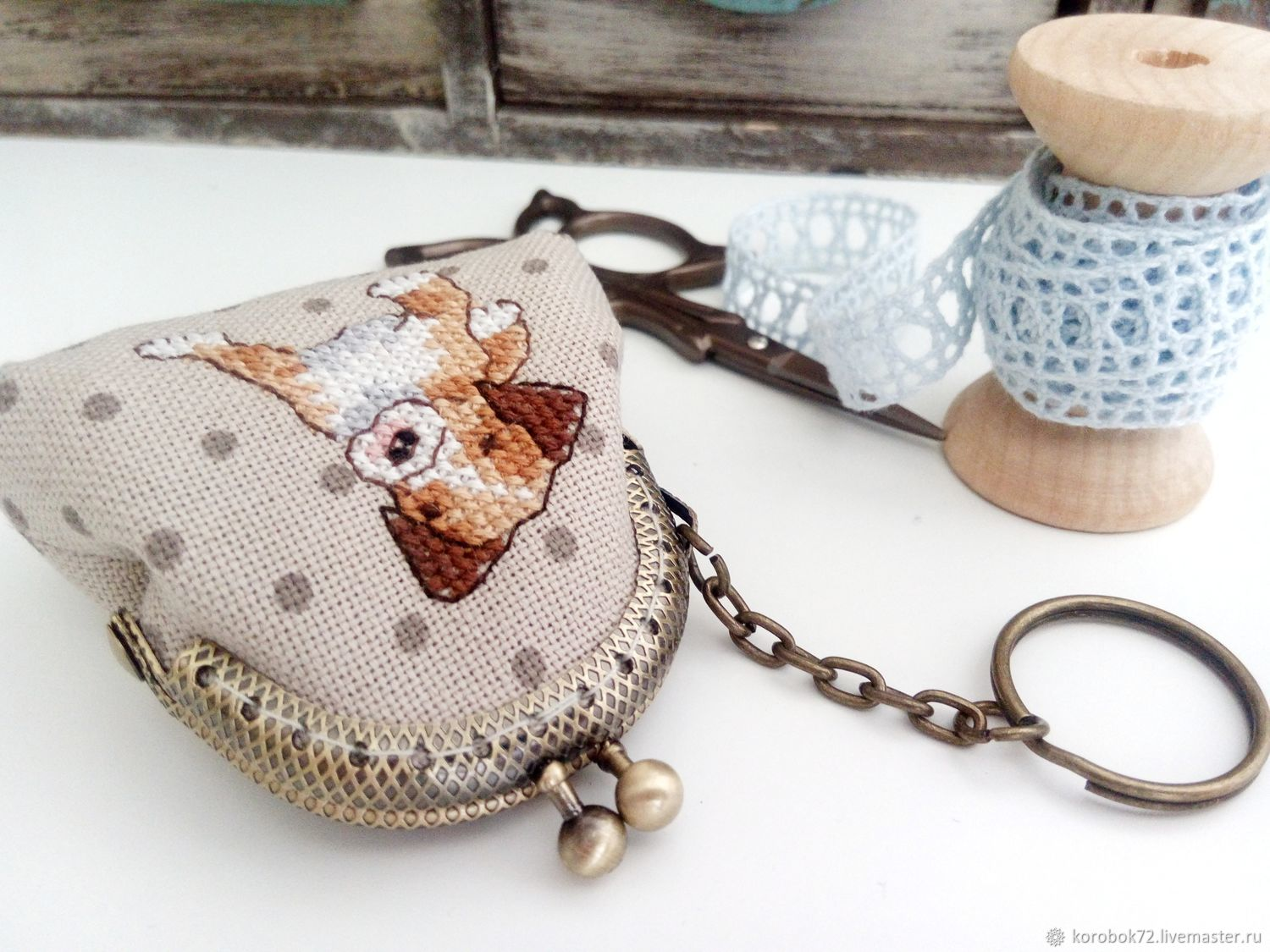 Purse keychain with clasp hand embroidery puppy, Key chain, St. Petersburg,  Фото №1