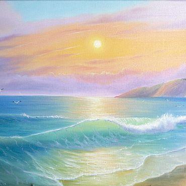 "Картины и панно ручной работы. Ярмарка Мастеров - ручная работа ""Мерцающий залив"", холст 40х50. Handmade."