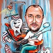 Картины и панно ручной работы. Ярмарка Мастеров - ручная работа Шарж на врача стоматолога. Handmade.