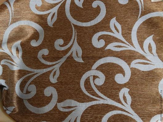 Шитье ручной работы. Ярмарка Мастеров - ручная работа. Купить Ткань портьерная Вензель Голубой. Handmade. Коричневый, шторы в спальню