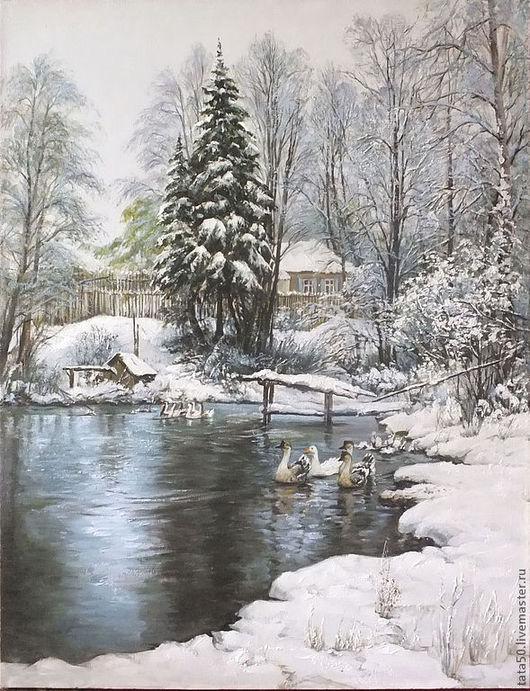 """Пейзаж ручной работы. Ярмарка Мастеров - ручная работа. Купить """" Зимний пруд"""". Handmade. Голубой, зима, домик в деревне"""