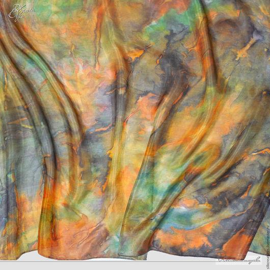 Шелковый палантин с ручной росписью `Модный агат` Подарок девушке женщине мужчине шарф платок палантин шелковый ручная роспись по шелку купить Петербург SilkCreatures shawl scarf
