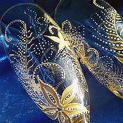 """Свадебный салон ручной работы. Ярмарка Мастеров - ручная работа Бокалы на годовщину """"Золотые перья"""". Handmade."""