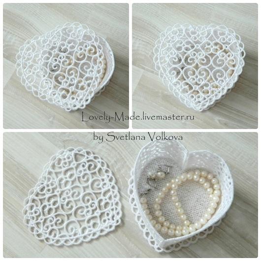 Белая кружевная шкатулка `Ажурное сердце`. Для украшений и любимых мелочей. Ручная работа.