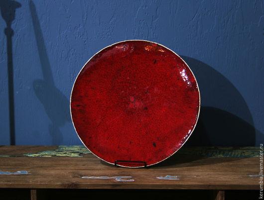 """Тарелки ручной работы. Ярмарка Мастеров - ручная работа. Купить Керамическое блюдо """"Солнце"""". Handmade. Ярко-красный, тарелка, глазурь"""