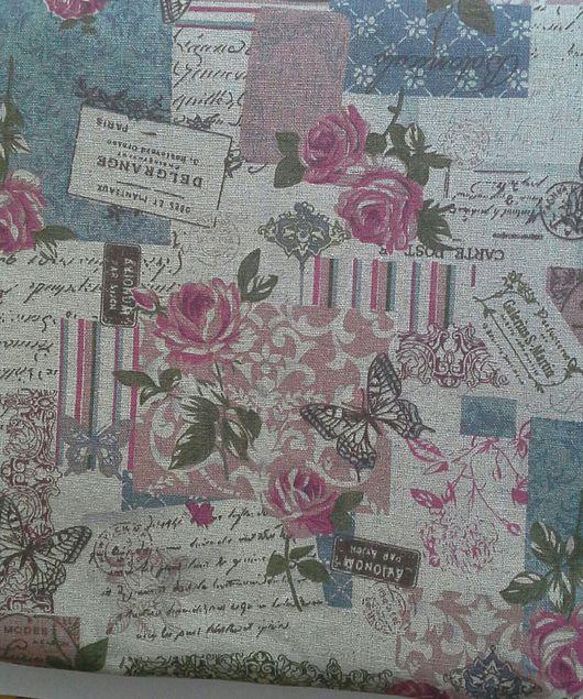 Шитье ручной работы. Ярмарка Мастеров - ручная работа. Купить Лен с розами винтаж. Handmade. Розовый, ткань для творчества