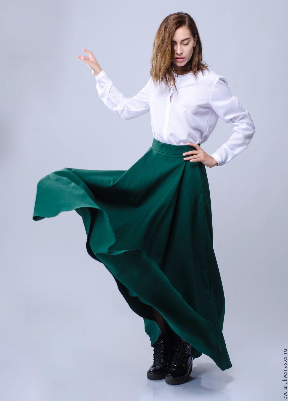 Темно зеленая юбка длинная