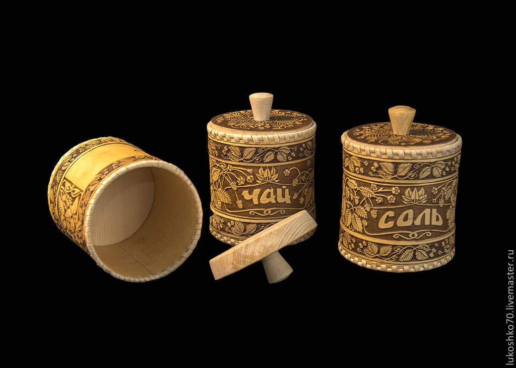 Set tuesdav from birch bark 'tea', 'salt', 'sugar'. Jars for storage, Jars, Tomsk,  Фото №1