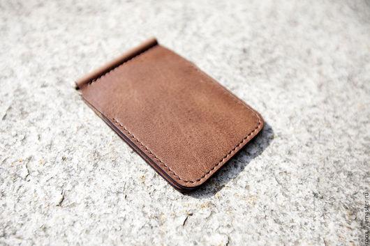 Кошельки и визитницы ручной работы. Ярмарка Мастеров - ручная работа. Купить Кошелек с зажимом для денег (money clip wallet) из кожи Horween. Handmade.