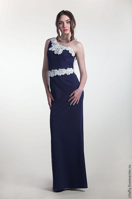 вечернее платье русалка в пол на одно плечо