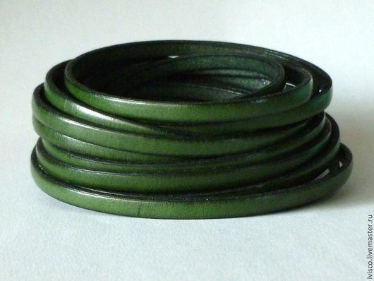 Для украшений ручной работы. Ярмарка Мастеров - ручная работа. Купить Кожаный шнур 5х2мм  темно-оливковый матовый. Handmade.