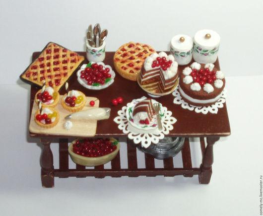 """Кукольный дом ручной работы. Ярмарка Мастеров - ручная работа. Купить Столик """"Вишневый пирог"""". Handmade. Полимерная глина"""
